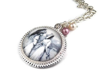 Victorian Friendship Pendant Necklace with Swarovski Pearls