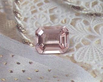Pink Morganite 10x8mm 2.60 Carat Rectangle Emerald Cut Loose Gem Unmounted Gemstone For Engagement Ring Wedding, Re-Polished