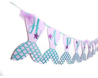 Mermaid Happy Birthday Banner, Mermaid Tail Banner, Under The Sea Banner, Scale Mermaid Banner