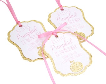 A Little Pumpkin Is On Her Way Favor Tags, Pumpkin Baby Shower Favor Tag, Our Little Pumpkin Baby Shower, Fall Baby Shower Favor Tags
