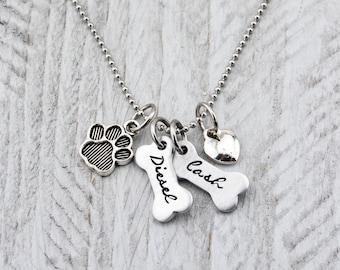 Dog Necklace - Dog Lover Gift - Paw Print Necklace - Dog Mom Gift for Women - Dog Paw Necklace - Dog Mom Necklace - Dog Bone Necklace
