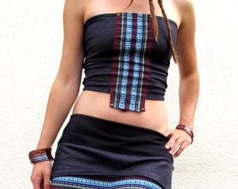 Leatherette top stretch snake and thai woven fabric