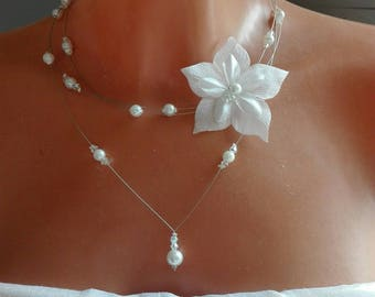 wedding party /transparent white silk flower bridal necklace MULTISTRAND ceremony