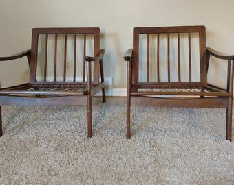 Mid Century Danish Modern Pair of Wood Lounge Chairs Made in Yugoslovia
