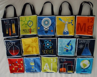 Set of 15 Science Fabric Gift Bags, Science Party Favor Bags- Chemistry