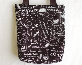 Science Fabric Gift Bag, Science Party Favor Bag- Chemistry Blackboard