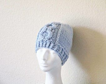 Blue gift Blue knit hat Wool knit hat Blue knitted hat knit beanie Knitted skull cap Chunky knit hat something blue under stocking stuffer