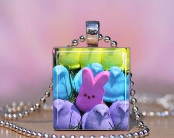 Peeps Scrabble Jewelry. Easter Peeps Scrabble Necklace.  Marshmallow Peeps Pendant.  Peeps Charm Bracelet. Peeps Necklace.  Easter Pendant.