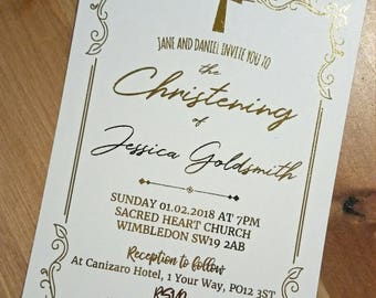 Gold Foil Personalised Invitations for Christening, Baptism, Holy Communion, Confirmation + Free Envelopes Stylish Real Foil Metallic Script