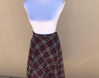 1970s Plaid Twill Wool Bias Cut Skirt 28W 46H 29L