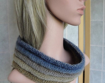 blue knitted cowl, beige and blue cowl, knit headband/cowl, denim blue neckwarmer, neckwarmer/headband, wool mix cowl, autumn to spring cowl