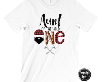 Aunt of the Wild One - Birthday Shirts - Birthday Shirts for Aunts - Unisex Adult Shirts - Aunt Shirts - Birthday Boy - Lumberjack Plaid