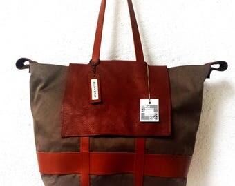 Tan khaki canvas and leather tote bag