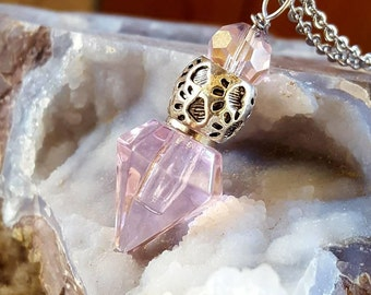 Crystal Point Pet Urn | Paw Print Urn | Pink Crystal Urn Necklace | Pet Urn Jewelry | Pet Cremation Jewelry | Pet Ash Necklace | Pet Loss