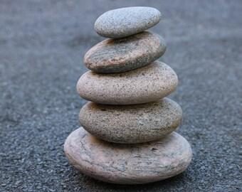 Sea Stone Sculpture - Beach Rock Cairn - Zen Garden - Stacking Pebbles - Relaxation Gift - Mindfulness