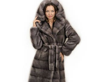 Woman Hooded Fur Coat,Silver Blue fur Coat F826