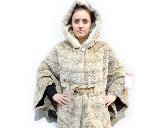Sheared Fur with Hood,Plus Size Cape F148