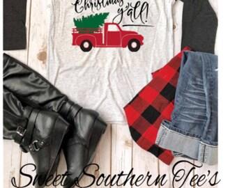 Christmas shirt/ merry christmas yall, merry christmas yall shirt/ shirts for women/ christmas apparel/ holiday apparel