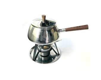 Danish Modern Stainless Fondue Set.  Steel Pot with Teak Handles, Stand, Plate, and Warming Cradle.