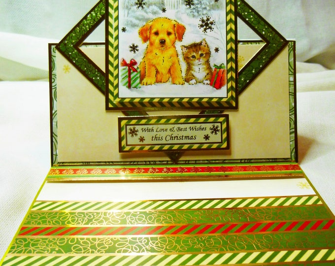 Puppy and Kitten Christmas Card, Handmade Card, Greeting Card, Easel Card,Male or Female, Any Age, Mum, Dad, Sister, Brother, Son, Daughter