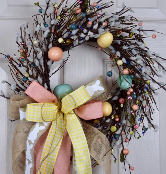 Easter Egg Pussy Willow Twig Wreath with Bow and Berries; Pink Turquoise Yellow Spring Country Decor; Pastel Spring Rustic Easter Door Decor