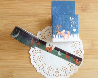 Planner Accessories: Winter Forest Deer Washi Tape - for Planners & Scrapbooks