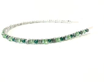 Emerald green, headband, hair accessories, emerald, green, hair accessory, headbands, beaded, women, birthday gift, tiara, crown, bridal