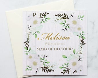 Maid of Honour Invitation, Asking to Be My Maid of Honour Card, Maid of Honour Card, Personalised Maid of Honour Card, Floral Card