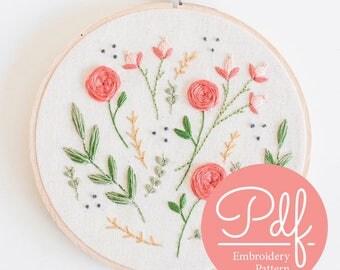FLORAL BURST - Embroidery pattern - PDF Digital Download