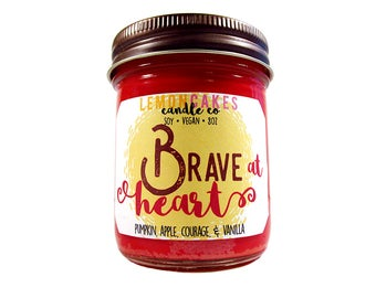Brave at Heart - House Candle - Bookish Candle - 8oz Soy Candle - LemonCakes Candle Co - Pumpkin, Apple, Courage, Vanilla