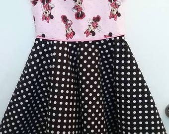Pink and Black Minnie Mouse Cap sleeve Dress