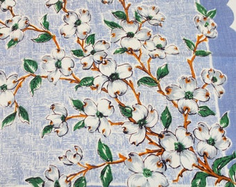 Vintage 50's Tablecloth White Dogwood Flowers Branches Leaves Blue Scalloped Linen Fabric - 65 x 53, Gifts for Her Tea Party