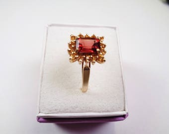 Tourmaline & Sapphires in a 14 karat Gold Ring
