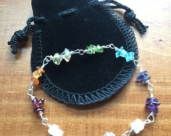 Chakra Bracelet - Silver clasp, Natural Gemstones, Moonstones and Herkimer Diamond