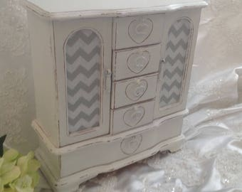 Large Jewelry Box Armoire French Country Handpainted White Wooden Jewelry Box Hand Painted Shabby Chic Distressed Jewelry Box Chevron Fabric
