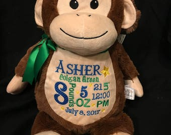 Personalized stuffed animal baby announcement birth announcement stuffed animal baby gift  photo prop monogrammed baby gift plush monkey
