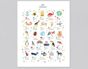 Alphabet Poster, Nursery Decor, Alphabet Print, ABC Print, Children's Wall Art, Baby Nursery Decor, Gift Idea, Can Be Personalised