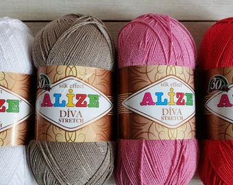 Elastic yarn ALIZE DIVA STRETCH, summer yarn, yarn for knitting swimwear, silk effect, color palette