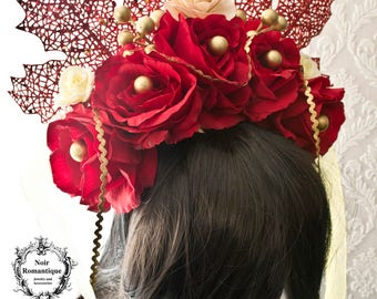 Red roses  festive headband with gold details -flowr headpiece-gothic headpiece-Christmas-headpiece-One of a kind-Ready to ship