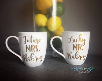 Future Mrs. & Lucky Mr. Personalized Coffee Mugs | Engagement Gift | Bridal Shower gift | Couples Gift | Custom Mug | Mr Mrs | His and Hers