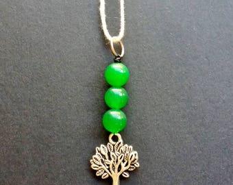 Green Jade Tree of Life Necklace - green jade necklace, jade jewellery, tree of life jewelry, crystal necklace, gemstone necklace