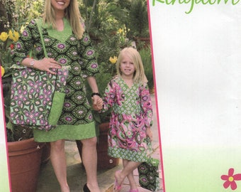 Simplicity 2062 Free Us Ship Sewing Pattern Daisy Kingdom Mother Daughter Matching Dress Huge Tote Bag Purse Size 6/24 3/8 Uncut New FF