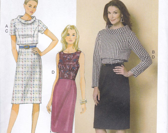 FREE US SHIP Butterick 6243 Fitted Dress Overblouse Mod Size 14 16 18 20 22 Bust 36 38 40 42 44 Plus Factory Folded  2015