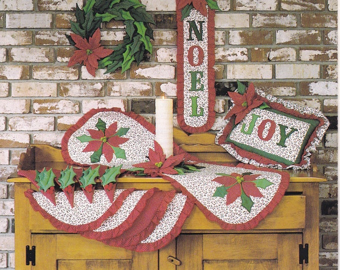 FREE US SHIP Craft Sewing Pattern Gingham Goose Quilt Noel Wreath Banner Table Runner Candle ring Pillow Napkins Kitchen Accessories 1980