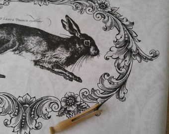 100% cotton tea towel made in Canada with Hare/Rabbit print