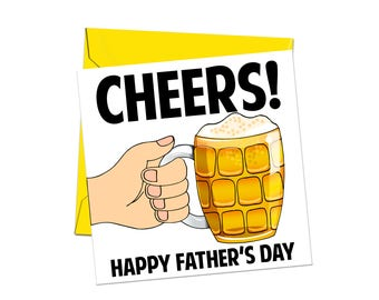 Fathers Day Card - Happy Fathers Day Card - Dad Card - Thanks Dad Card - Cheers Dad Card