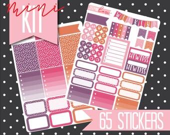 MINI KIT Pretty Planner stickers Weekly Kit 2 Sheets - Purple / Pink / Orange