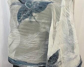 Winter Garden Felted Scarf, Felted Wrap, Felted Silk Scarf, Ocean Blue, Silk Wrap, Beach Wedding, Fashion Accessories, GracefulEweFiberArts