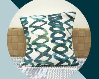 pillowcase cushion cover SCHLAUFEN green blue white grey screenprint print patern graphic