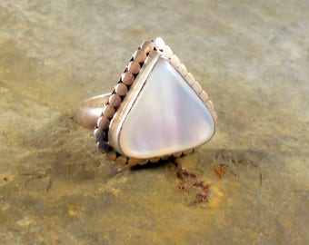 Gorgeous Mother Of Pearl Ring Sterling Silver Made in the Navajo Style Size 5.5 Great Luster Southwestern Jewelry Gift For Her